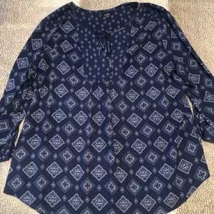 NYDJ Blue Long Sleeve Blouse